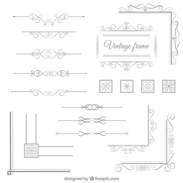 Elementi ornamentali d'epoca Vettore gratuito