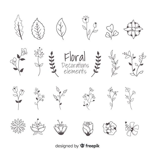 Elementi ornamentali floreali disegnati a mano Vettore gratuito