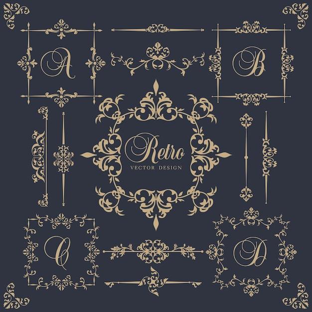 Elementi ornamentali in stile vintage Vettore gratuito