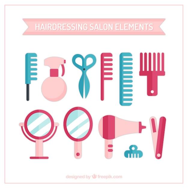 Elementi parrucchiere Vettore gratuito