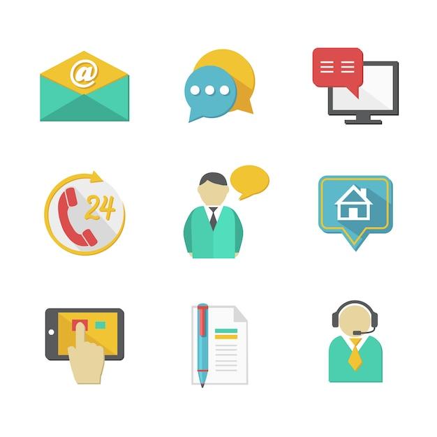 Elementi per la progettazione di contatti per l'helpdesk clienti Vettore Premium