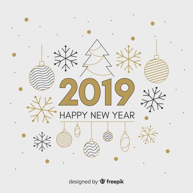 Elementi piani anno nuovo sfondo Vettore gratuito