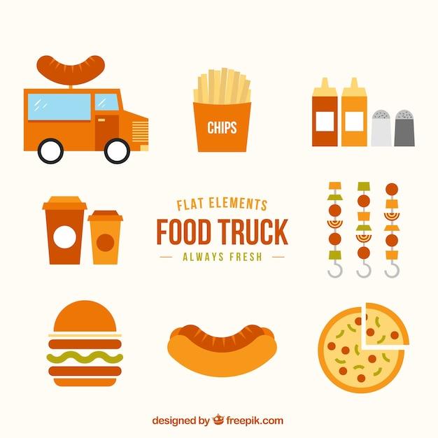 Elementi piani di camion di cibo scaricare vettori gratis for Creatore di piani gratuito