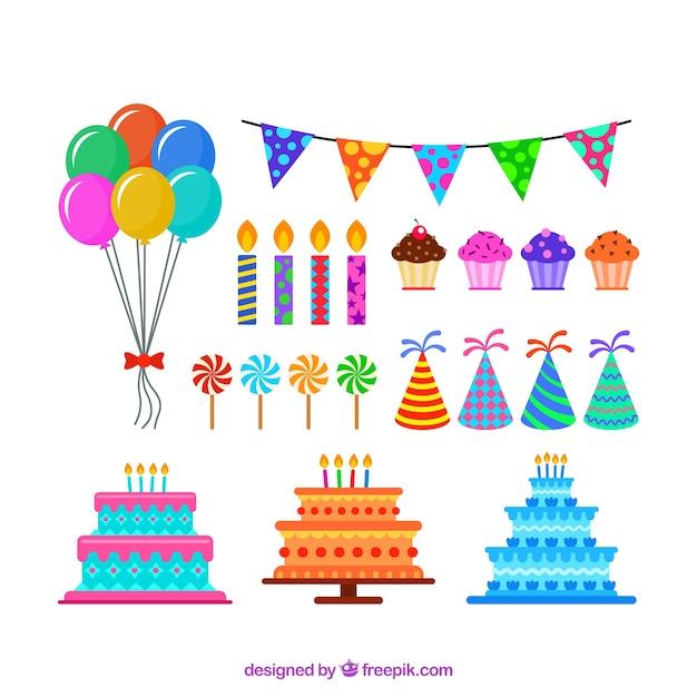 Elementi piani per feste di compleanno scaricare vettori for Creatore di piani gratuito