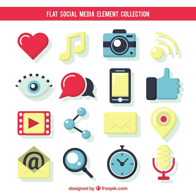 Elementi piuttosto piatta dei social media Vettore gratuito