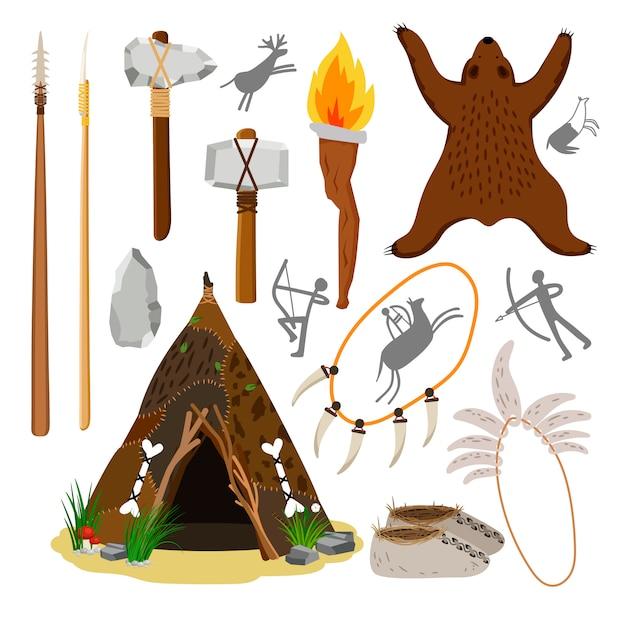 Elementi primitivi del cavernicolo Vettore Premium