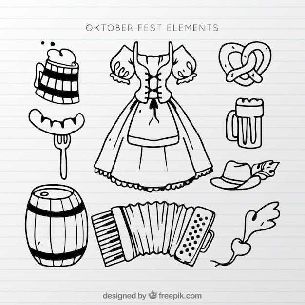 Elementi scatenati oktoberfest Vettore gratuito