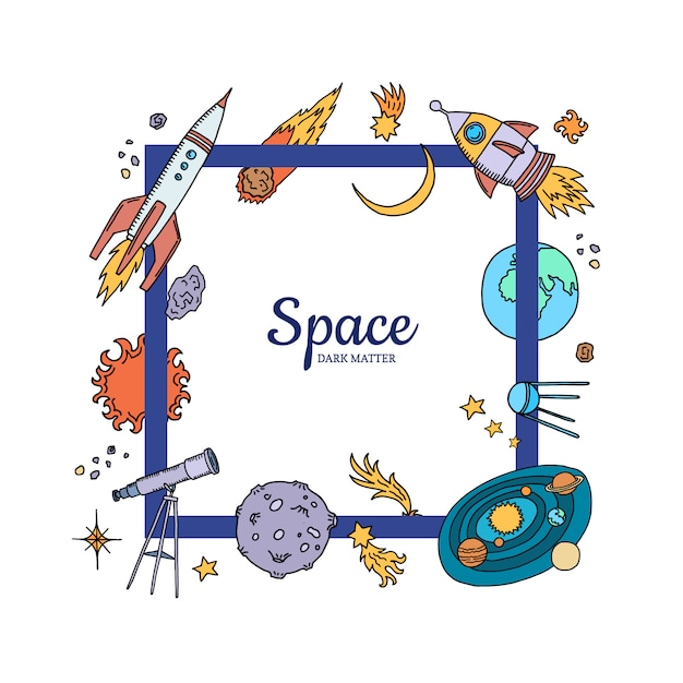 Elementi spaziali disegnati a mano che volano Vettore Premium