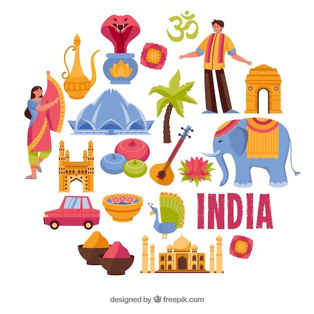 Elementi tradizionali dall'india Vettore gratuito