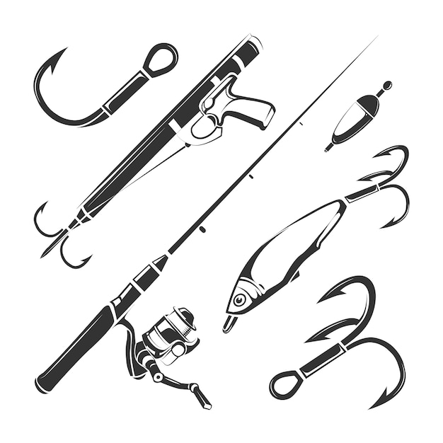 Elementi vettoriali per club di pesca d'epoca Vettore Premium