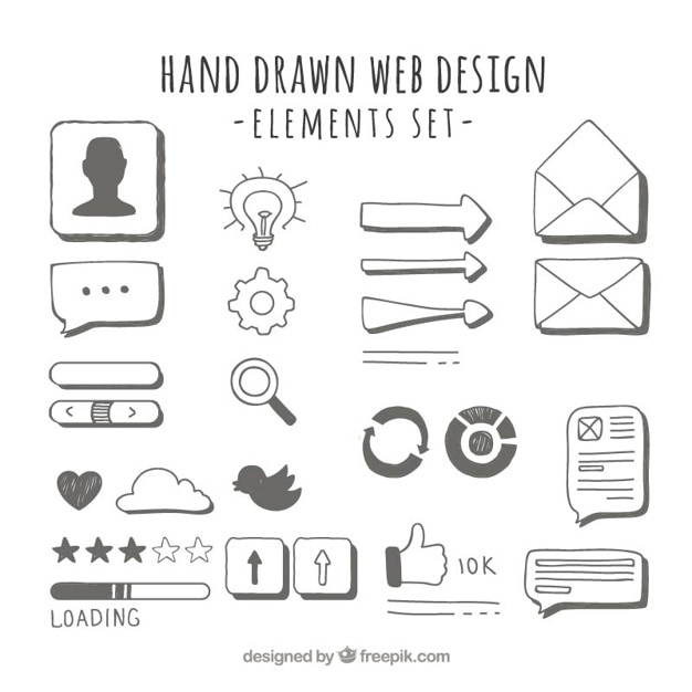 Elementi web disegnati a mano Vettore gratuito