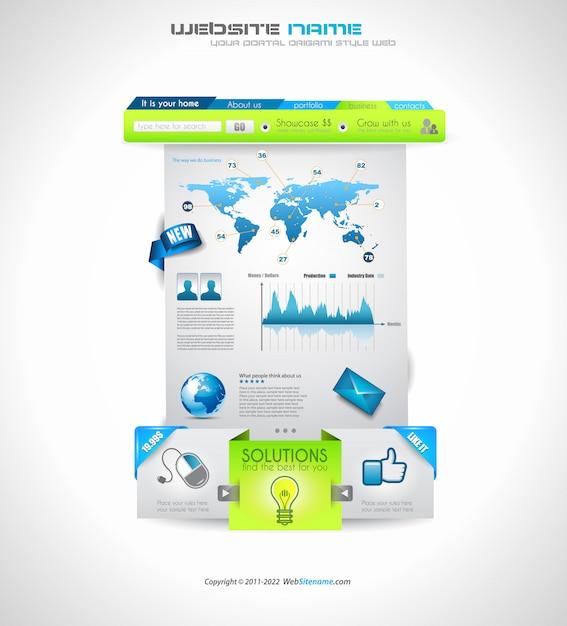 Elementi web puliti e di qualità per blog e siti Vettore Premium