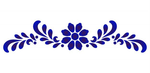 Elemento decorativo fiore blu e bianco per design in porcellana e ceramica Vettore Premium