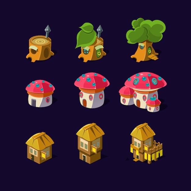 Elemento del fumetto delle case delle fate del gioco Vettore Premium
