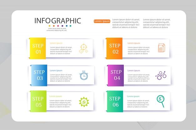 Elemento del grafico di infographic di opzioni di modello di progettazione 6 di affari. Vettore Premium