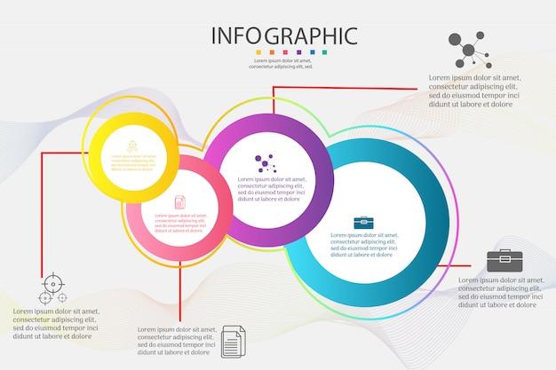Elemento del grafico infographic di opzioni di modello di progettazione 4 affari. Vettore Premium
