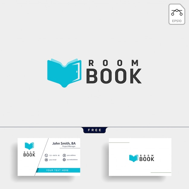 Elemento dell'icona dell'illustrazione del modello di logo della biblioteca del libro di istruzione della porta Vettore Premium