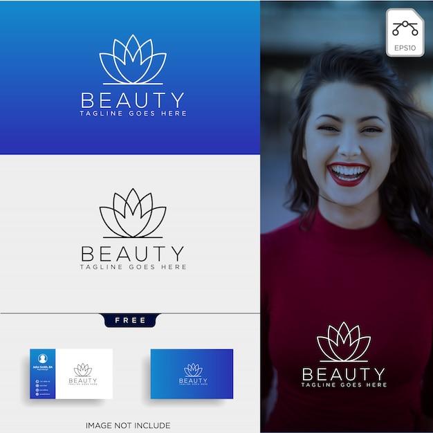 Elemento dell'icona di vettore logo linea arte estetica di bellezza Vettore Premium