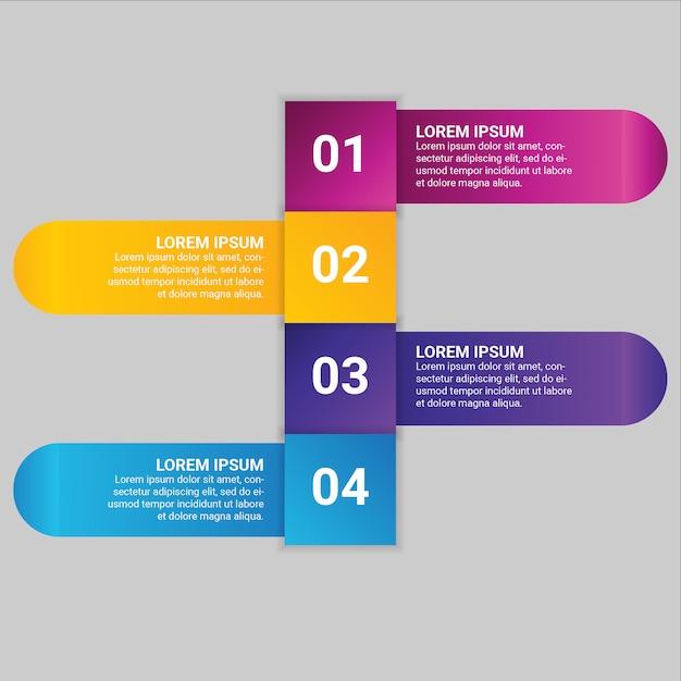 Elemento di business gradiente infografica con 4 opzioni o passaggi Vettore Premium