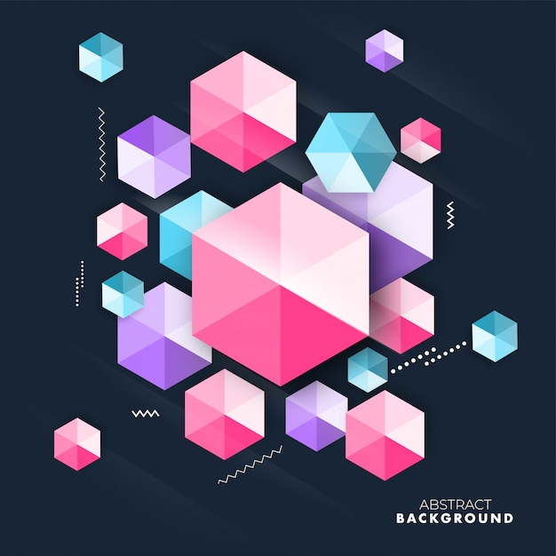 Elemento di cristallo colorato esagonale o diamante geometrico su sfondo Vettore Premium