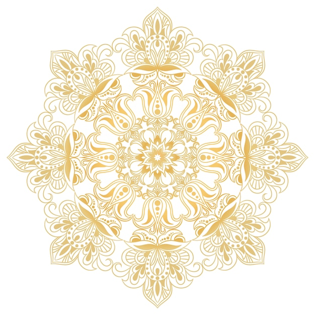 Elemento di design decorativo etnico. simbolo di mandala ornamento floreale astratto rotondo. Vettore Premium