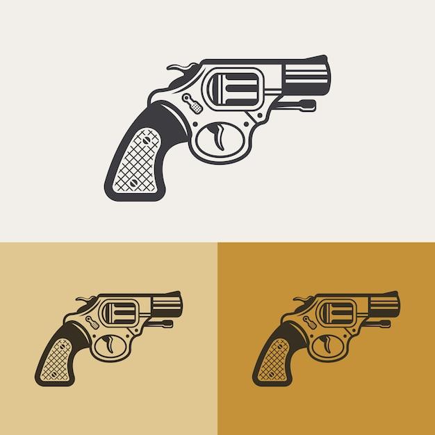 Elemento di design del contorno, icona della siluetta del revolver classico vintage, segno di arma Vettore Premium