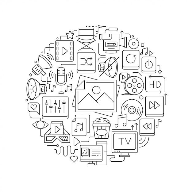 Elemento di design rotondo con icone multimediali Vettore Premium