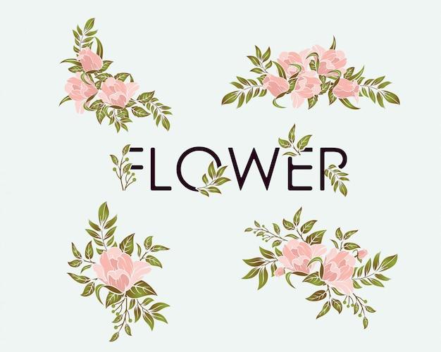 Elemento di design scenografia fiore di bellezza Vettore Premium