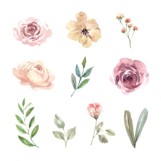 Elemento di disegno dell'acquerello di nozze di fiori Vettore gratuito