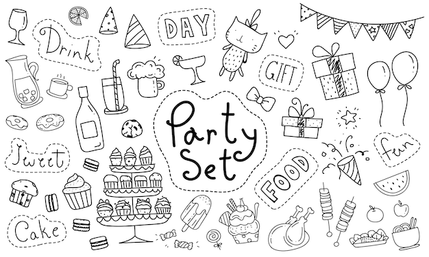 Elemento di festa doodle disegnato a mano sveglio Vettore Premium
