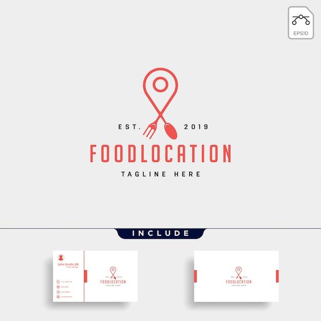Elemento di icona logo piatto lusso semplice navigazione pin cibo Vettore Premium