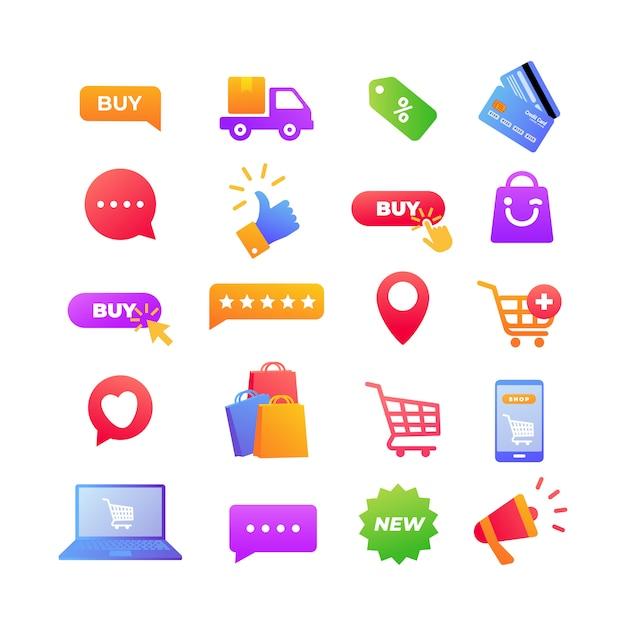 Elemento di icone dello shopping online Vettore Premium