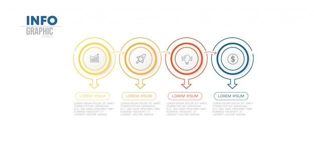 Elemento di infografica con 4 opzioni o passaggi. può essere utilizzato per processo, presentazione, diagramma, layout del flusso di lavoro, grafico informativo, web design. Vettore Premium
