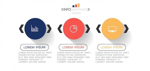 Elemento di infografica con icone e 3 opzioni o passaggi. Vettore Premium
