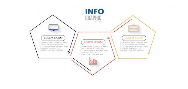 Elemento di infografica con icone e 3 opzioni o passaggi Vettore Premium