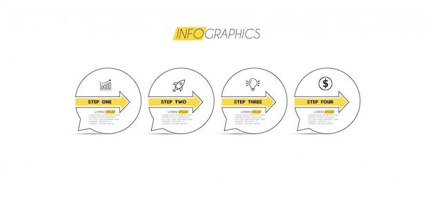 Elemento di infografica con icone e 4 opzioni o passaggi Vettore Premium