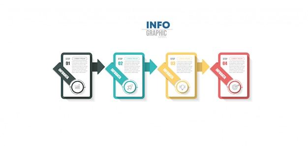 Elemento di infografica con icone e 4 opzioni o passaggi. Vettore Premium