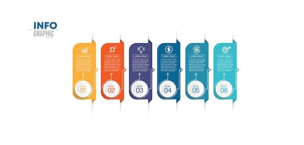 Elemento di infografica con icone e 6 opzioni o passaggi. può essere utilizzato per processo, presentazione, diagramma, layout del flusso di lavoro, grafico informativo, web design. Vettore Premium