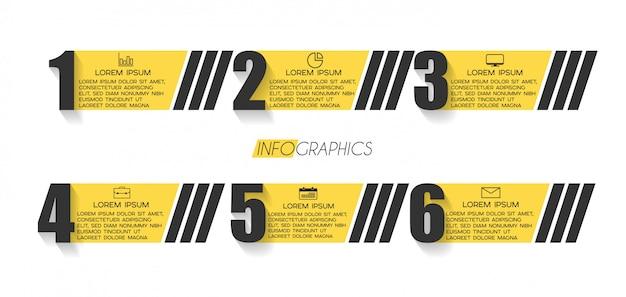 Elemento di infografica con icone e 6 opzioni o passaggi. Vettore Premium