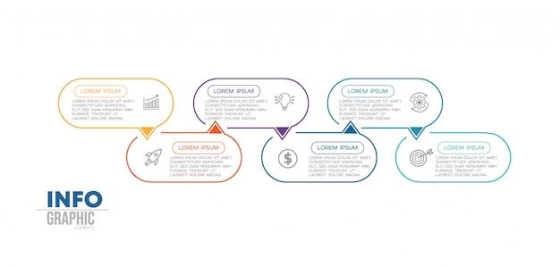 Elemento di infografica con icone e 6 opzioni o passaggi Vettore Premium