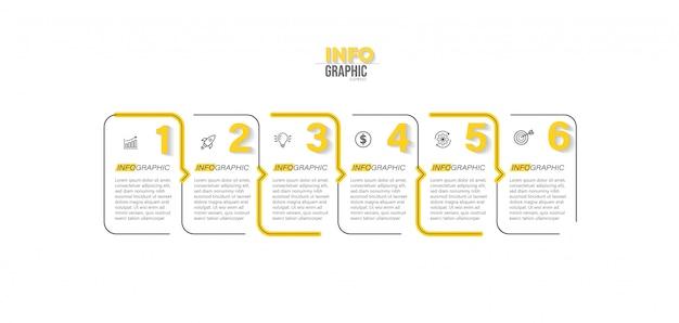 Elemento di infografica con illustrazione di passaggi Vettore Premium
