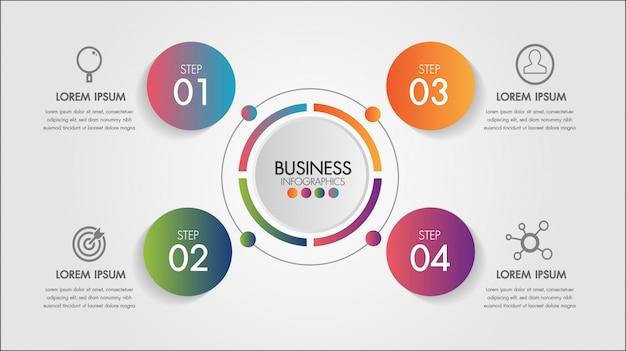 Elemento di infografica di affari. modello di grafico a cerchio grafico con 4 passaggi o opzioni per presentazioni. Vettore Premium