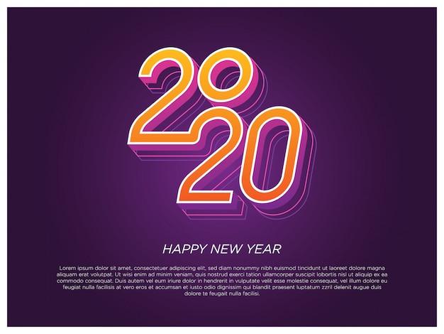 Elemento di tipografia di felice anno nuovo 2020 Vettore Premium