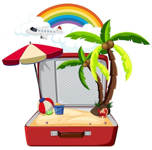Elemento estivo in valigia Vettore gratuito
