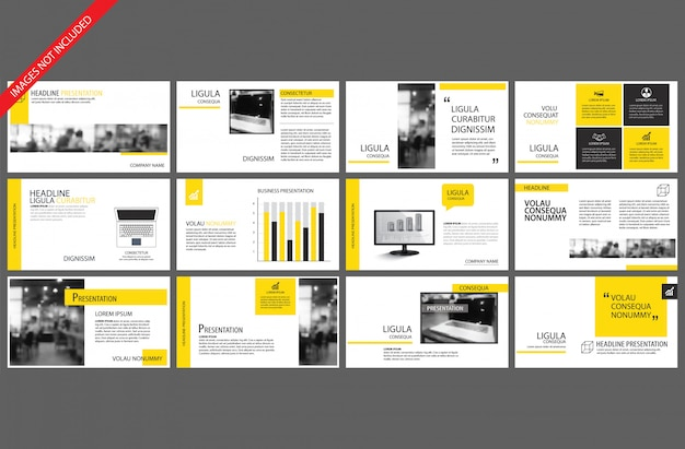 Elemento giallo per infografica diapositiva powerpoint Vettore Premium