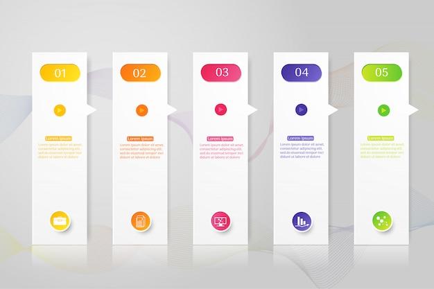 Elemento grafico del grafico di opzioni di progettazione modello 5 opzioni. Vettore Premium