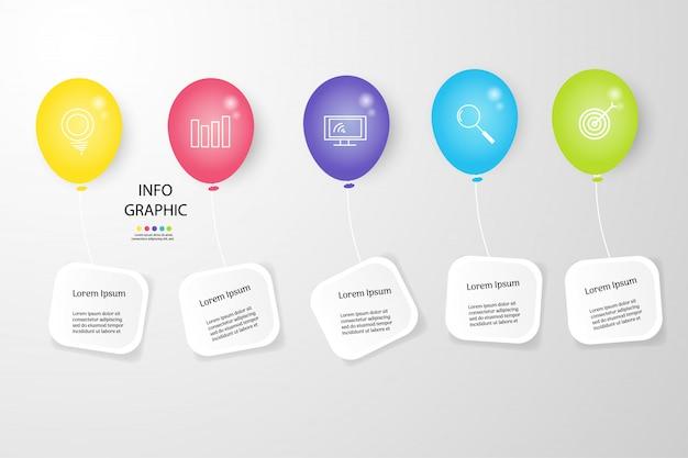 Elemento grafico di infografica modello di business design per presentazioni. Vettore Premium