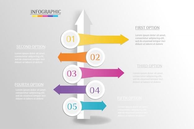Elemento grafico di infografica modello di business design. Vettore Premium
