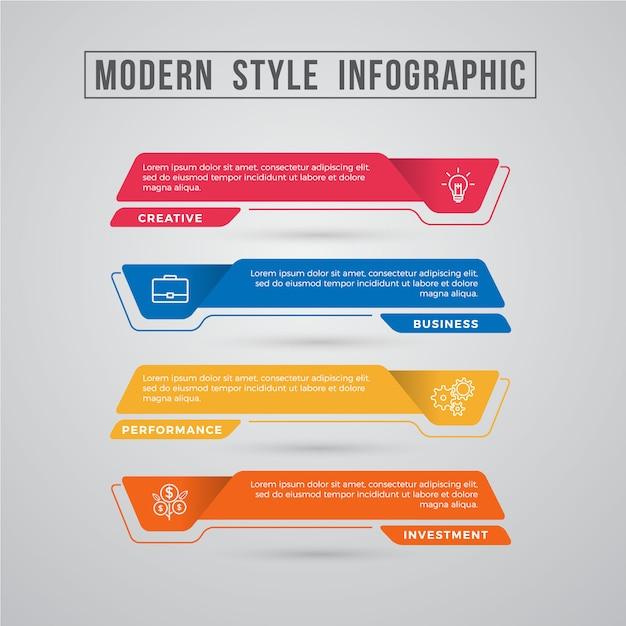 Elemento grafico di informazioni di stile moderno Vettore Premium