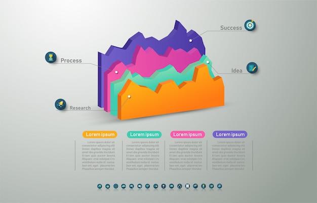 Elemento grafico di progettazione opzioni modello 4 opzioni infografica. Vettore Premium